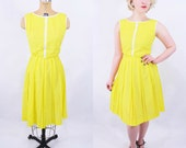 1960s yellow dress | 60s mod R&K dress | vintage a line pleated dress | S W 25""