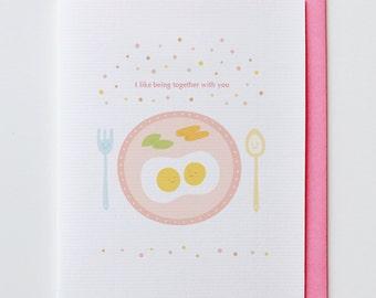 Eggs - Sweet, Anniversary Card, Valentine Card, I Love You Card, Cute, Kawaii, Heart, Kitchen, Breakfast