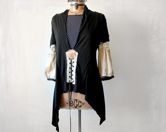 Black Romantic Shirt Bohemian Gypsy Top Lace Up Blouse Puffy Sleeves Renaissance Style Boho Womens Clothing Mori Girl Shabby Tunic L 'SHAWNA