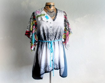 Artsy Boho Shirt Bohemian Gypsy Top Unique Clothing Reconstructed Blouse Boho Tunic Top Women's Eco Clothes Funky Fashion Large 'JOCELYN'