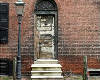 Wood Door Photography, Old Door Print, Rustic Home Decor, Urban Decay, Urban Art Print, Street Photography,Wall Art Philadelphia Photography