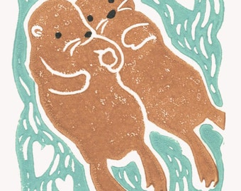 Otter Valentine, Otters Holding Hands - Wedding, Anniversary, Save the Date