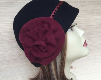 Cloche hat Womens Felt Hat 1920's Downton Abbey Flapper Hat Millinery Fur Felt