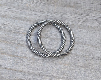 textured ring in antique style, stacking ring in sterling silver, 2mm wide handmade ring for her