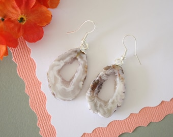 Geode Earrings, Crystal Slice Earrings, Agate, Druzy Natural Earrings, Boho Earrings, Natural Rocks, GNE10