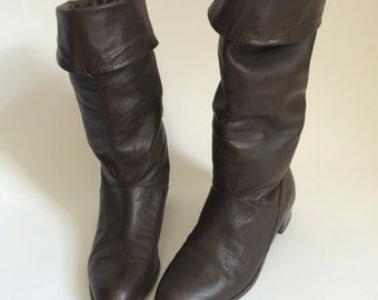 Vintage Brown Pirate Boots by Flings - 80s - Made in Brazil Leather Upper // Size 6.5 slouch shoes 6 1/2
