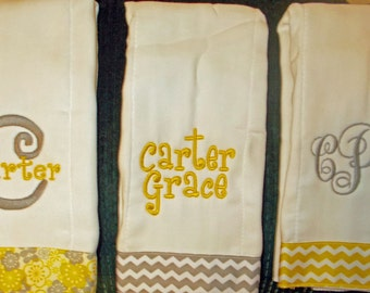 Baby Girl's Embroidered Personalized Burp Cloth Set of 3 with Ribbon-YELLOW and GREY