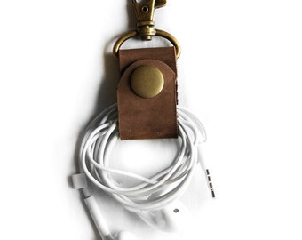 PAIR of Caramel Brown Leather Cord Keepers Headphone Wrap Earbud Holder Cord Wrapper with Clip