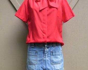 80s vintage Silky Vivid Vermilion Red Short Sleeve  Secretary Blouse / Paris Station Petites