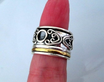 RING - Extra Wide - Band -  spinner - SPINNING - TRIPLE   - Two Tone  - 925 - Sterling Silver - Size 6 1/2 -  spinner129