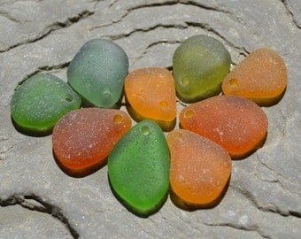 Genuine Sea Glass - Drilled Seaglass, Beach Glass - Earthy Autumn Colors, Fall Jewelry Supply
