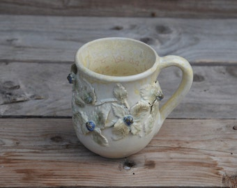 Stoneware Tea Cup  in cream with brambles and blackberries  - Handmade  Stoneware Ceramics  - cream - mug