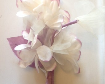 Violet Edge IVORY Silk Organza Flowers  for Bridal, Headbands, Hats, Sashes, Boutonnieres, Corsages. MF37
