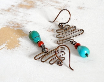 Turquoise Earrings with Red Jasper, Copper Wire Jewelry, Metalwork Earrings, Hand Forged Jewelry, Geometric Earrings, Boho Earrings