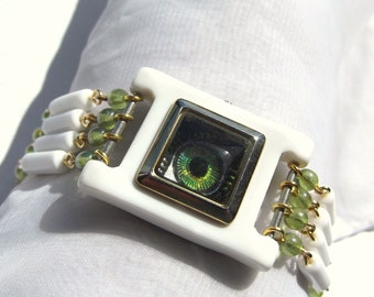 Steampunk Evil Eye Lime Green and White Glass Bead Bracelet