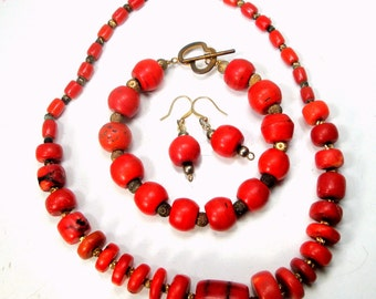 SALE, Red Bamboo Coral Necklace Set, Earrings, Bracelet in Antique Color Coral Glass , OOAK by R Starr, Glass are Trade Beads, Late 1800s