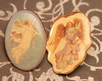 Vintage Angel Pin Set, Guardian Angel Push Pins, Vintage Jewelry Wedding Keepsake , Vintage Enamel Pins