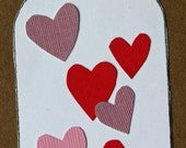 Jar of hearts Valentines Day card, I love you, anniversary, thinking of you, kraft, red ad pink hearts, simple, cut paper, simple