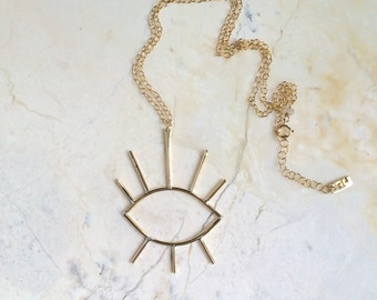Eye Of Enlightenment. Brass Eye Pendant. All Seeing Eye necklace. Gold Fill and Brass. Statement Necklace. Symbol Necklace. Open Eyes.