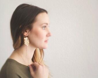Leaf Earrings. Brass Leaf Dangles. Statement Earrings. Hand Cut. Brass and Gold. Nature Earrings. Tropical Leaf. Big Gold Earrings. Metal.