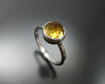 citrine stacking ring, November birthstone ring, sterling stacking ring, ecofriendly jewelry, recycled sterling silver, golden citrine