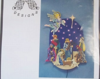 Christmas Nativity Scene Kit Luvlee Designs #LL1268 Plastic Canvas Holiday Decor with Lights Angel, Wise Men, Mary, Joseph NIP Craft Destash