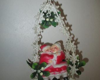 Mistletoe Kissing Ball--Kitschy Christmas Santa and Mrs Claus Swing Mistletoe--Vintage Christmas Ornament--Plastic Blowmold Santa Claus
