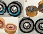"Custom Wood Plugs / Crystal, Druzy, Glass Single Ring Inlay Examples / Organic Ear Jewelry (1/2"" through 3"" +) (13mm through 76mm +)"