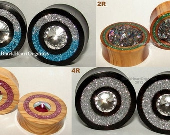 "Custom Wood Plugs- Crystal, Druzy, Glass Single Ring Inlay Examples / Organic Ear Jewelry (1/2"" through 3"" +) (13mm through 76mm +)"