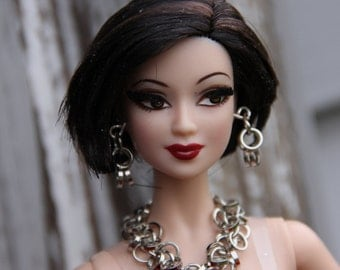 Silver Circles Doll Statement Necklace Bracelet and Earring Set for 11 1/2 - 12 inch 1/6th Scale Fashion Dolls