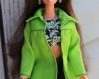 Spring Flower Green Crystal Necklace Earrings & Bracelet Doll Jewelry Set fits Fashion Dolls 1/6th Scale 11 1/2 - 12 inch dolls