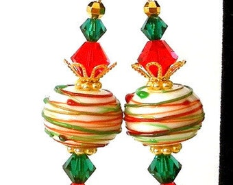 Red and green earrings, artisan lampwork glass, Christmas holiday, Swarovski crystal, drizzled green and red, romantic colorful jewelry gift