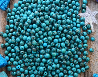 Tiger Turquoise Blue: Real Natural Acai Beads, Acai Seeds, Organic Beads, Natural Seeds, Eco-Beads, South American Beads, Pick your qty