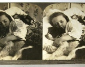 Girl Sleeping with Dog & Doll  - Antique Real Photo Stereoview