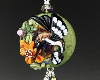 Hummingbird Garden handmade lampwork focal bead pendant  SRA