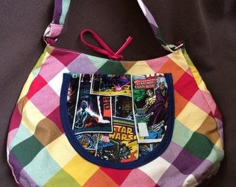 Star Wars comic book cover purse, geek shoulder bag, nerd girl gift shoulder bag upcycled vintage denim plaid pocket book