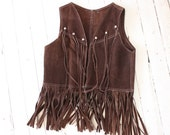 1970s cocoa Brown Suede vest