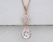 Rose gold Wedding necklace, Rose Gold Bridal necklace, Wedding jewelry, Simple necklace, Crystal Bridal necklace, Teardrop necklace