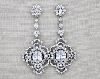 Long Bridal earrings, Crystal wedding earrings, Rose gold earrings, Chandelier earrings, Vintage style earrings, Wedding jewelry, MADISON