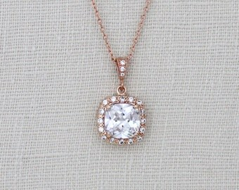 Rose Gold necklace, Cushion cut necklace, Wedding jewelry, Bridesmaid necklace, Rose Gold Bridal necklace, Crystal necklace, Pendant