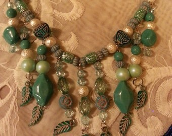 Turquoise Color Chunky Style Necklace and Earrings