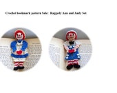 Raggedy Ann and Andy Crochet bookmark pattern set, Raggedy Ann and Andy crochet decorations crochet pattern, home decor diy, readers gift