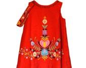 60s Girls Red Dress Heart Embroidered Felt Applique Matching Headband