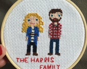 "8"" Personalized Character Cross Stitch - People Family Couple Baby Wedding Gift"