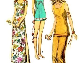 Pants Dress Tunic Top Size 10 Vintage 1970s Simplicity 9362 Sewing Pattern Scoop Neckline Bust 32.5 Uncut Factory Folded