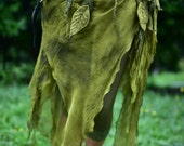 Nuno Felted Melted Pixie Woodland Nymph Forest Fairy Leaf And Vines With Silk Belt OOAK