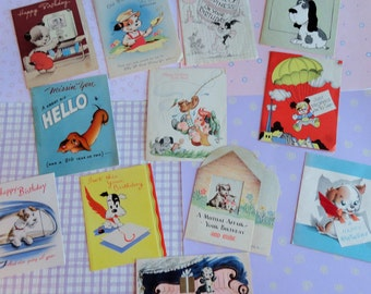 Canine Wishes Expressed for Your Birthday in Vintage Birthday Lot No 127 Total of 12 Card Earlier Greeting Cards 1940s plus