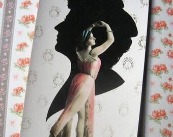Antique photo montage postcard, Antique theatre postcard, silhouette postcard, Antique French stage artist photo postcard, Rare postcard