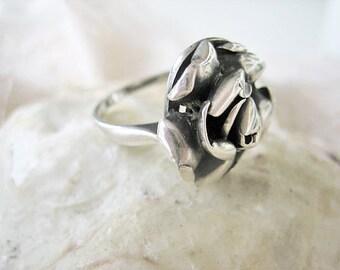 Vintage rose ring, vintage 925 sterling rose ring, vintage flower ring, 1960s rose ring, sixties sterling ring