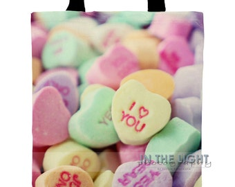 Candy Hearts - Valentine's Day - Fine Art Photography Tote Bag